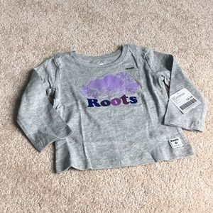 NWT Roots Long Sleeve Gray Tee with Logo 12-18